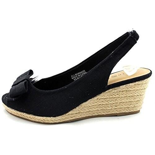 Karen Scott Womens ALLORAA Canvas Peep Toe Casual Espadrille Sandals