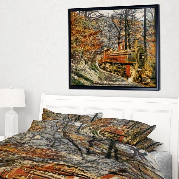 Designart Train In Forest Oil Painting Landscape Painting Throw Blanket Overstock 20911634 71 In X 59 In