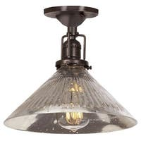 """JVI Designs 1202-08-S2-SR Union Square 1 Light Semi-Flush 7.5"""" Tall Ceiling Fixture with Antique Mercury Ribbed Mouth-Blown"""