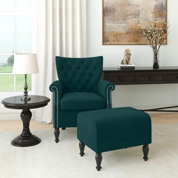 Copper Grove Khalee Button-Tufted Rolled Armchair and Ottoman. Opens flyout.