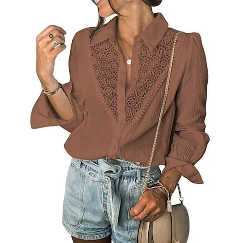 Lace Long-Sleeved Button Down Blouses Shirts Tops