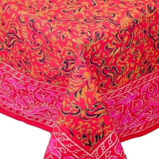 Handmade Sanganer Floral Mandala 100% Cotton Tablecloth Gorgeous Red 72 Inch Round 60x60 Square Inch & 60x90 Inch Rectangular (Option: Square)