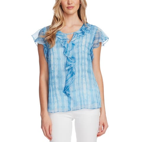 Vince Camuto Womens Blouse Ruffled Printed