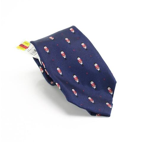 Club Room Men's Navy Blue Nutcracker Holiday Skinny Slim Neck Tie Silk