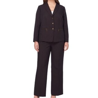 Tahari by ASL NEW Black 20W Plus Zipper-Pocket Striped Pant Suit Set