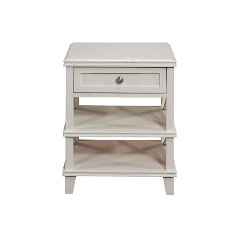 Mahogany Wood Nightstand, White - As Pictured