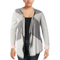 Nic + Zoe Womens Plus Cardigan Sweater Colorblock Open Front