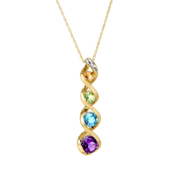 1 3/4 ct Multi Stone Journey Pendant with Diamond in 10K Gold