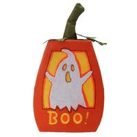 "16.75"" LED Lighted ""BOO"" Orange Felt Ghost Pumpkin Halloween Decoration"