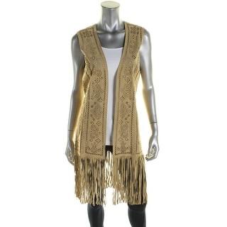 Denim & Supply Ralph Lauren Womens Casual Vest Suede Fringe