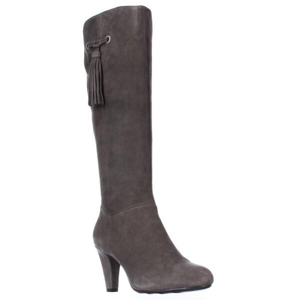 Bandolino Bacia Wide Calf Tassel Dress Boots - Medium Grey