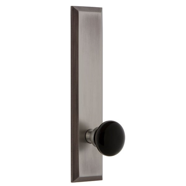 Grandeur FAVCOV_TP_PRV_234_LH Fifth Avenue Solid Brass Tall Plate Left Handed Privacy Door Knob Set with Coventry Knob and