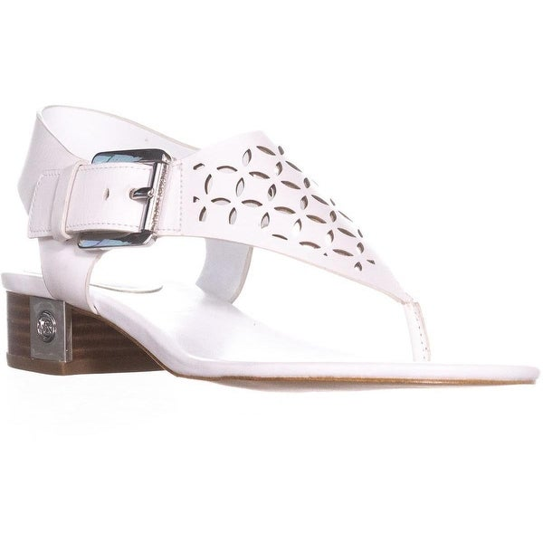 MICHAEL Michael Kors London Thong Lasered Sandals, Optic White Lasered - 7 us / 37 eu
