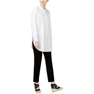Eileen Fisher Womens Casual Top High Low Long Sleeves