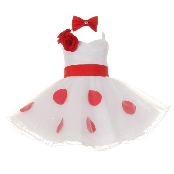 Baby Girls White Red Polka Dots Bow Organza Flower Girl Dress 6M