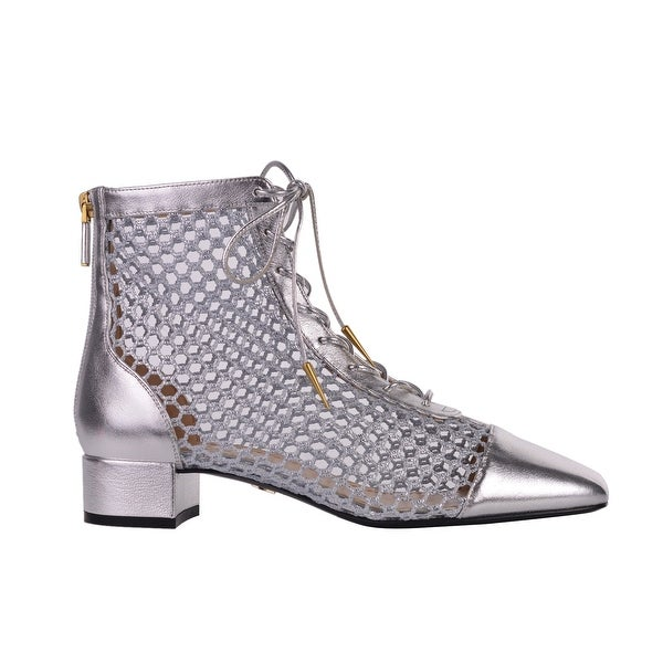 d7d841c56a9c2 Shop Dior Womens Naughtily-D Silver Laminated Leather Mesh Ankle ...