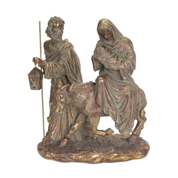 "12"" Gold Colored Holy Family Nativity Scene Christmas Tabletop Figure"