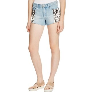 Paige Womens Cutoff Shorts Denim Patched