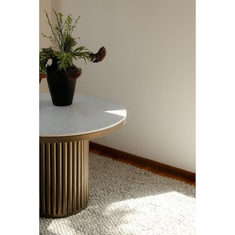 Aurelle Home Modern Round Marble Top Dining Table