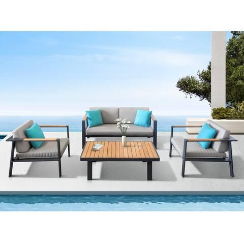 Higold Nofi Patio Furniture, 4 Pieces Conversation Set with Loveseat Sofa, Grade A Teak, Matte Charcoal Aluminum Finish