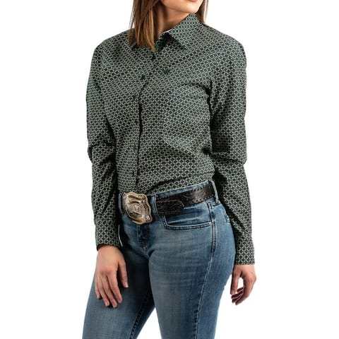 Cinch Western Shirt Womens L/S Button Contrast Trim Forest