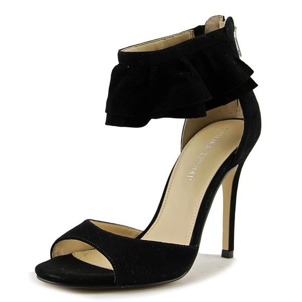 Ivanka Trump Herlle Women Open-Toe Suede Black Heels