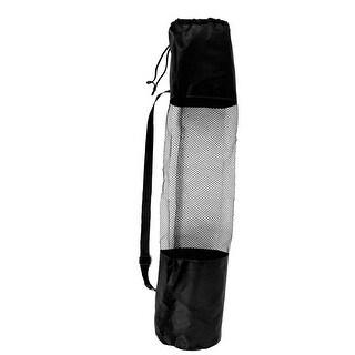 Adjustable Strap Black Nylon Yoga Pilates Mat Pad Mesh Net Carrier Bag 67cmx22cm