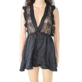 Link to Jezebel Womens Chemise Black Size Small S Lace Flutter Sleeve Satin Similar Items in Intimates