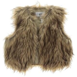 Jack Womens Casual Vest Faux Fur Open Front
