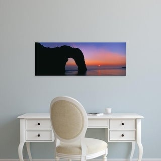Easy Art Prints Panoramic Images's 'Silhouette of natural arch, Durdle Door, Dorset, England' Premium Canvas Art