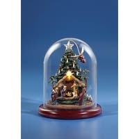 """9"""" Green and Red Angel Rotating Nativity Tree with Dome Tabletop Decoration"""