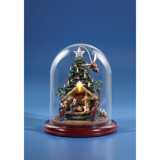 9 Green and Red Angel Rotating Nativity Tree with Dome Tabletop Decoration