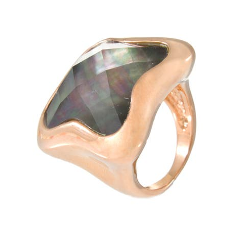 Forever Last 18 kt Gold Plated Women's Rose Plated Fancy Ring with Black Mop Stone