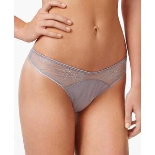 Calvin Klein Black Ladies Silverlock Grey Sheer Lace Thong Large L