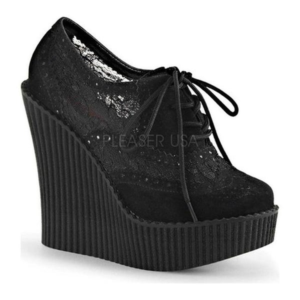 be45fb468f8 Shop Demonia Women s Creeper 307 Wedge Oxford Black Vegan Suede Mesh - On  Sale - Free Shipping On Orders Over  45 - Overstock.com - 11514017