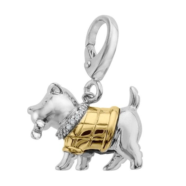 Dog Charm with Diamonds in Sterling Silver & 14K Gold