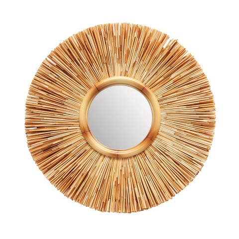 Round Reed Wall Mirror - Natural