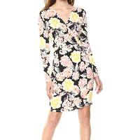 French Connection Yellow Black Womens Size 2 Floral Sheath Dress