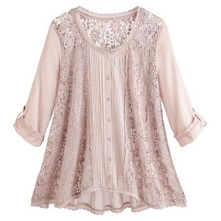 Women's Tunic Top - Blush Lace Shirt