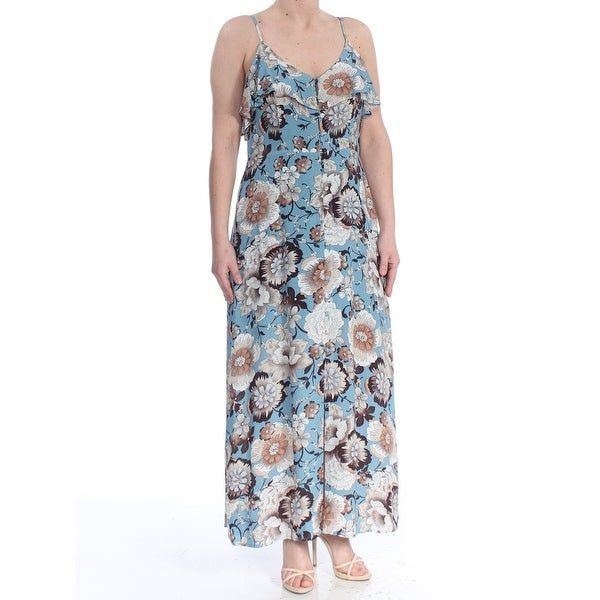 22e5821ddf3cb SANCTUARY Womens Blue Floral Button Down Maxi Dress Size: L