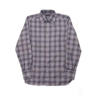 Tom Ford Mens Pure Cotton White Houndstooth Plaid Dress Shirt