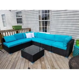 Kinbor 7-piece All-Weather Rattan Sectional Sofa Set Patio Furniture Set Cushioned Wicker Sofa Set