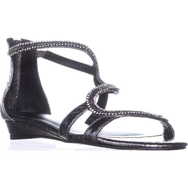 TS35 Clara Jeweled Snake Strap Sandals, Gun Metal - 7.5 us