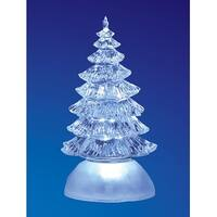 "Pack of 4 Icy Crystal Illuminated Traditional ChristmasTree Figurines 7"" - CLEAR"