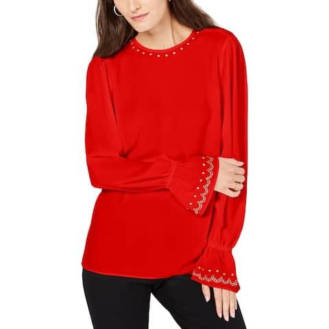 MICHAEL Michael Kors Womens Petites Blouse Studded Bell Sleeves