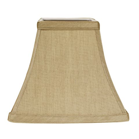 Cloth & Wire Slant Square Bell Hardback Lampshade with Bulb Clip, Tan