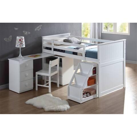 ACME Wyatt Loft Bed & Storage in White bed
