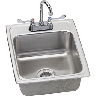 "Elkay LRAD172065C 17"" Single Basin Drop-In Stainless Steel Bar Sink with Commercial Faucet - Includes Drain"