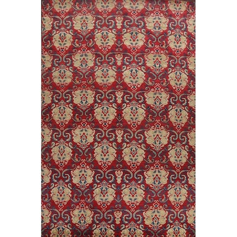 """Wool/ Silk Abstract Oriental Contemporary Area Rug Hand-knotted Carpet - 9'11"""" x 13'10"""""""