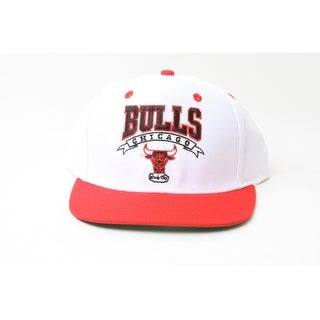 New Adidas NBA Chicago Bulls Script Logo Snapback Hat- White and Red